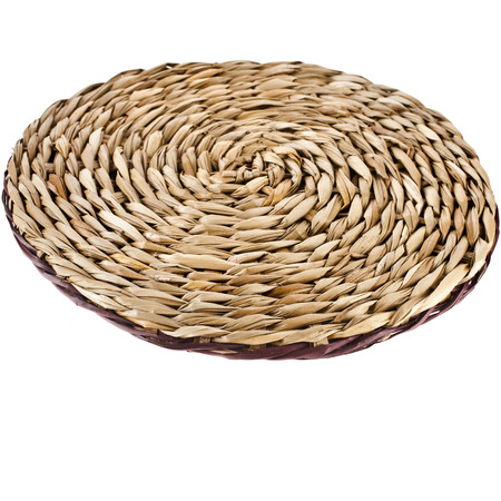 rattan mat: Wicker placemat with clipping path Stock Photo