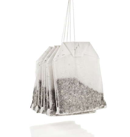 loose: Hanging Tea Bags , isolated on white background Stock Photo