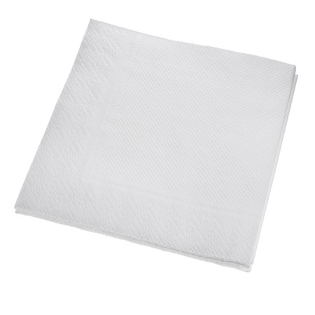lint: White Square paper napkin isolated on white background Stock Photo
