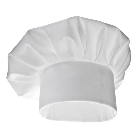 cocinero italiano: Blanco Chef sombrero aisladas sobre fondo blanco