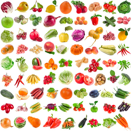 sweet stuff: Large Collection set of Various Fresh Ripe Vegetables, Fruits, Berries close up isolated on white background Stock Photo