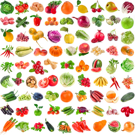 Large Collection set of Various Fresh Ripe Vegetables, Fruits, Berries close up isolated on white background Archivio Fotografico