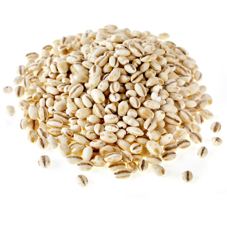 Pearl Barley Heap Pile close up macro isolated on white Background