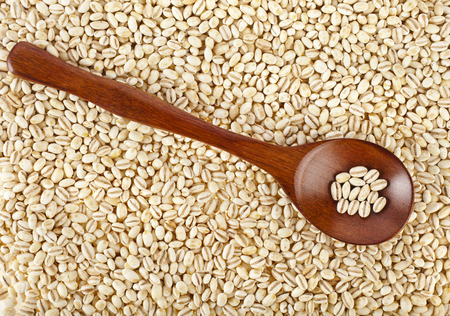 pearl barley: pearl barley in a wooden spoon close up surface top view background Stock Photo