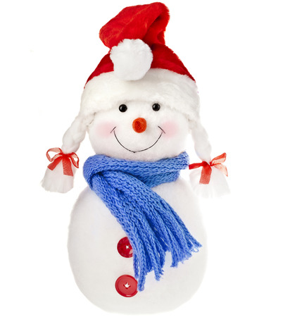 happy snowman in knitted hat and scarf isolated on white background