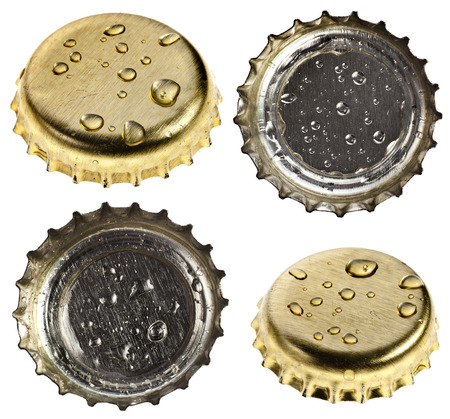 single beer bottle: Collection set of beer bottle cap close up macro Isolated on white background