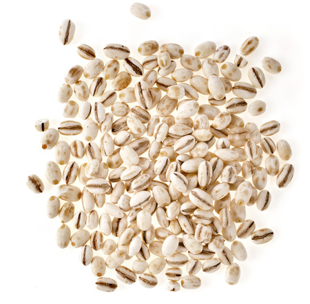 pearl barley: Pearl Barley Heap top view surface isolated on white Background
