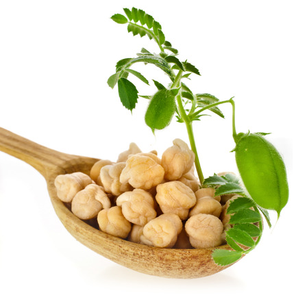 chickpea: Chick peas over spoon isolated on white background
