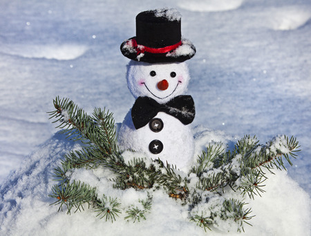Happy Cheerful Christmas snowman in snow outdoors background photo