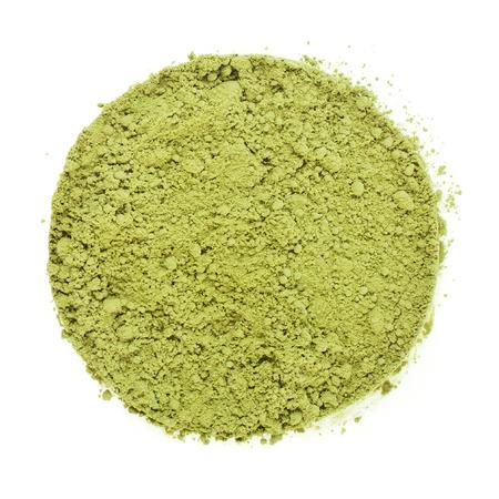 Haufen Haufen von Matcha Green Tea japanischen Powered Oberfläche Ansicht von oben isoliert auf weißem Hintergrund Lizenzfreie Bilder