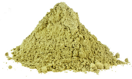 Heap pile of Matcha, Green Japanese Powered Tea isolated on white background Standard-Bild