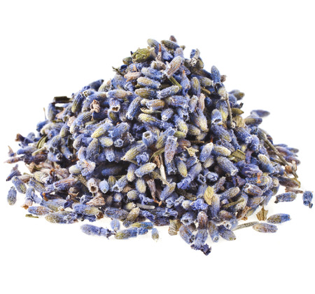 Heap pile of Lavender Herb Bud Flower tea isolated on white background