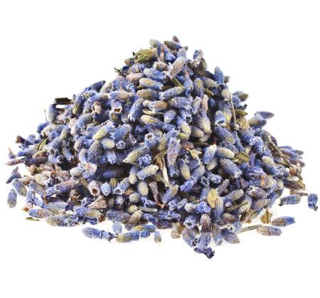 Mucchio Mucchio di tè dell'erba della lavanda Germoglio di fiore isolato su sfondo bianco Archivio Fotografico - 31234904