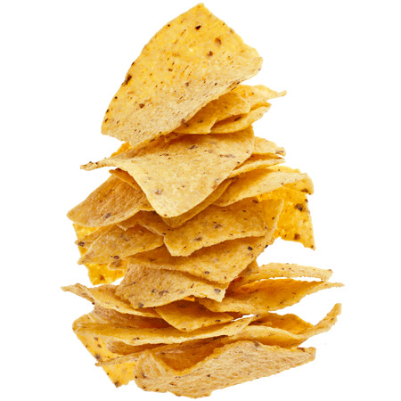 corn chip: heap of Mexican nachos chips isolated on white background Stock Photo