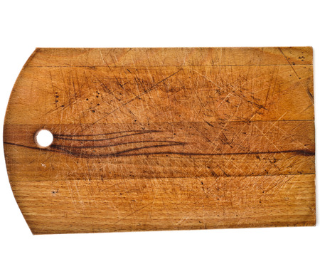 kitchen tools: Old rustic wooden kitchen cutting board isolated on white background