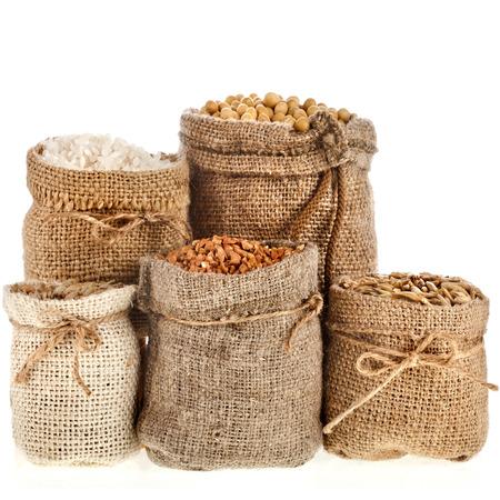 legumbres secas: Conjunto de la colección de la harina de semillas y granos en bolsas aisladas sobre un fondo blanco Foto de archivo