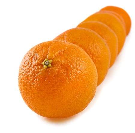 stacked row tangerines on a white background photo