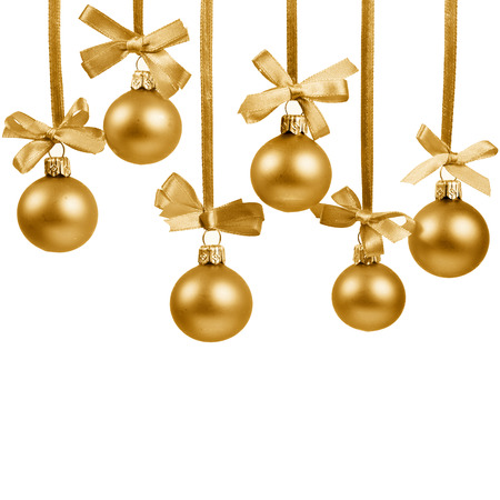 glass christmas tree ornament: Christmas golden balls with ribbons with space for your text isolated on white