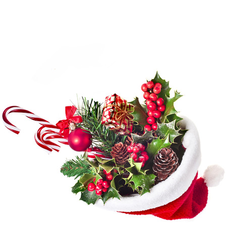 sackful: Santa Claus hat cap full christmas presents isolated on white background