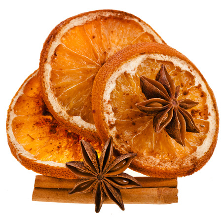 dried orange: Christmas sliced dried orange with cinnamon sticks and anise