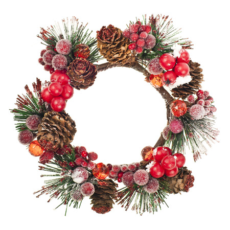 door leaf: Christmas door decoration wreath isolated on a white background