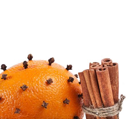 orange peel clove: christmas orange - clove close up isolated on white