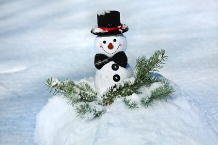 snow ball: Happy Cheerful Christmas snowman in snow ball outdoors background Stock Photo