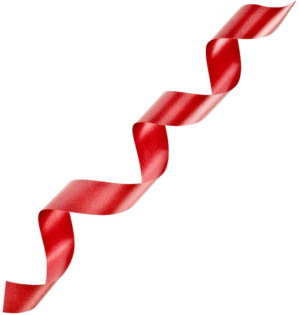 lacet: red holiday ribbon tape on white background