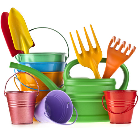 bucket and spade: Colorful gardening tools: Watering can, bucket, spade over white background