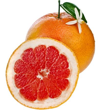 orange fruit: citrus grapefruit slice detail close up isolated on white background