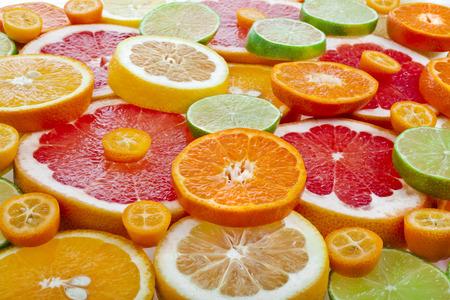 citrus fruits: slices citrus top view close up