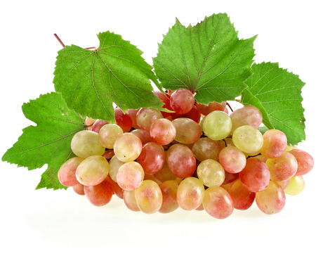grape cluster: Grape cluster with leaves isolated on a white background