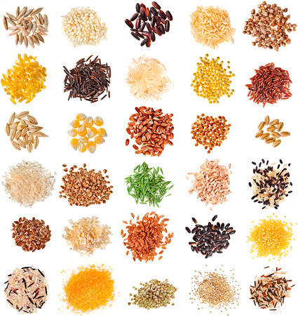 Collection Cereal Grains and Seeds : Rye, Wheat, Barley, Oat, Corn, Flax, Millet, Rice, Buckwheat, Quinoa close up isolated on white