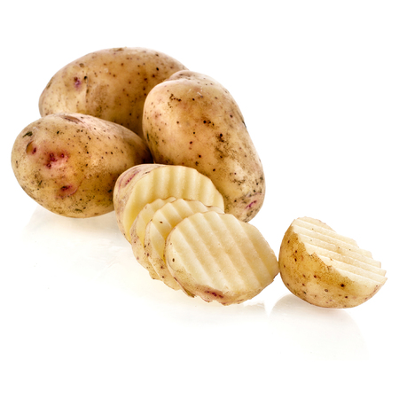 Fresh potatoes with slice chips
