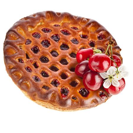 Cherry cake pie isolated