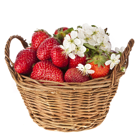 Strawberry with flowers in basket