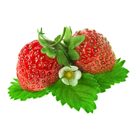 Strawberries with leaves iIsolated