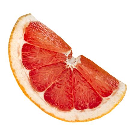 slice of citrus grapefruit detail close up isolated on white background