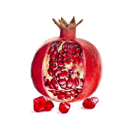 Pomegranate fruit on a white