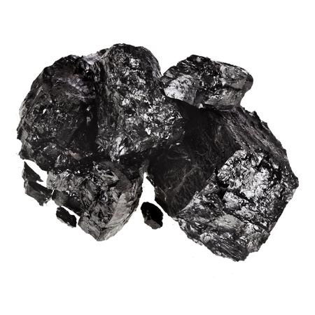 Pile of coal isolated on white background.