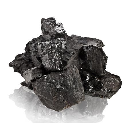 Pile of coal isolated on white background