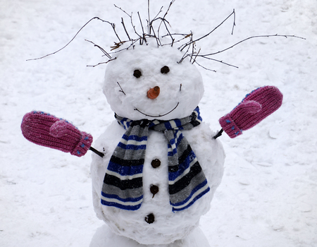 Christmas snowman outdoors Stockfoto