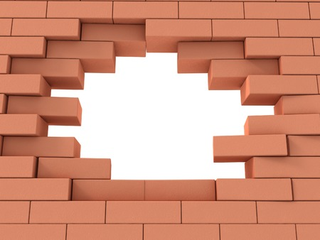3d Illustrarion of breaking the wall, bricks, with copyspace photo