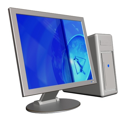 3d illusatration of an computer isolated on white background photo
