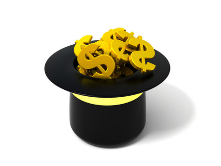 hag: 3d illustration of hat with dollar signs
