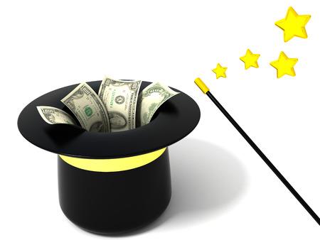 3d illustration of magic hat and dollars illustration