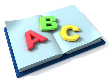 schoolbook: 3d render of schoolbook with 3d letters Stock Photo