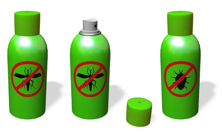 mosquitos: ANTI-MOSQUITO  AND ANTI-BUG SPRAY. OPEN AND CLOSE. Stock Photo