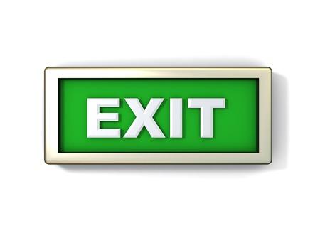 salidas de emergencia: ejemplo de salida de se�al verde o el bot�n  Foto de archivo