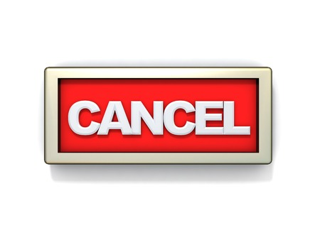 no way out: 3d illustration of cancel sign or button Stock Photo